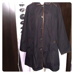 Dennis Basso Black Brown trench coat. Size 2X.